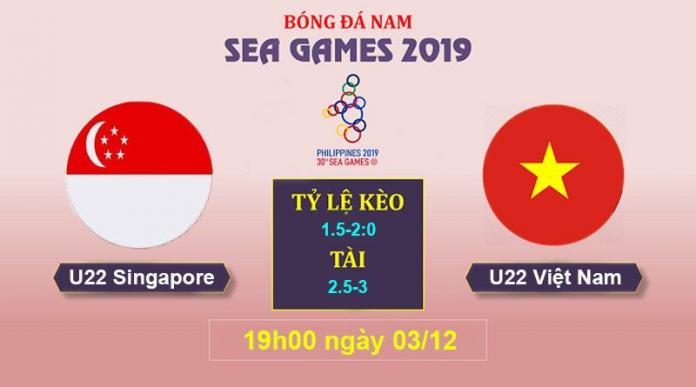 Soi kèo U22 Việt Nam và U22 Singapore ngày 03/12/2019